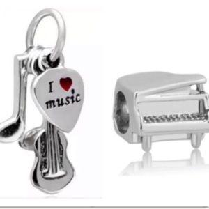 925 Sterling Silver Violin Piano Charm Bundle Set